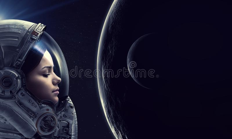 Spazio cosmico d'esplorazione Media misti fotografie stock libere da diritti