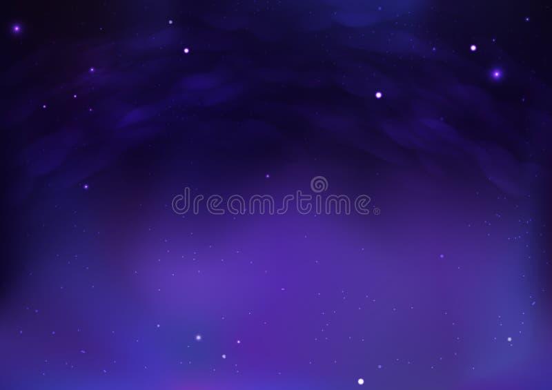 Spazio cosmico della galassia con la notte stellata nuvolosa sull'illustrazione astratta di vettore del fondo della bella atmosfe royalty illustrazione gratis