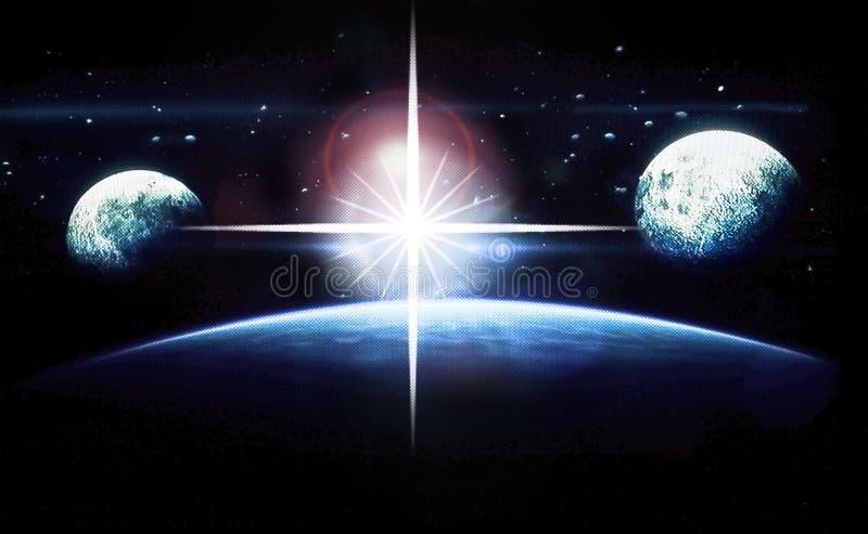 Spazio cosmico delle stelle e dei pianeti illustrazione di stock