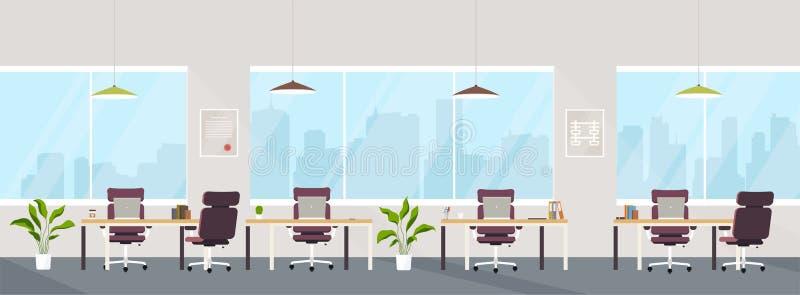 Spazio creativo moderno interno dell'ufficio con i posti di lavoro vuoti Spazio ufficio con le finestre panoramiche illustrazione vettoriale