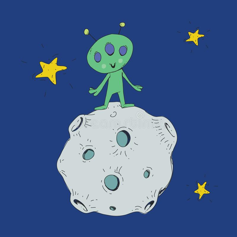 Spazio del fumetto per i bambini Luna, stelle, pianeta, asteroide, straniero del astrounaut, UFO Avventura, viaggio, esplorazione illustrazione vettoriale