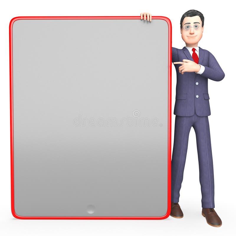 Spazio di Blank Means Text dell'uomo d'affari e rappresentazione del bordo 3d illustrazione di stock
