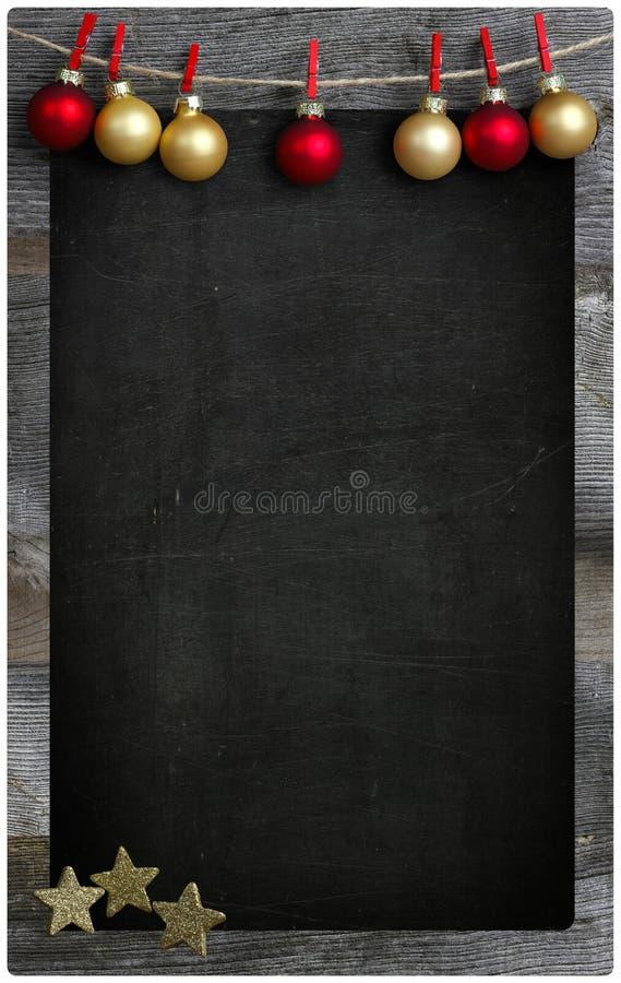 Spazio di legno della copia della lavagna del menu del ristorante di Natale immagine stock