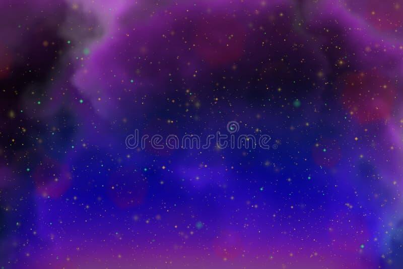 Spazio dinamico astratto di rosa di fantasia e fondo variopinto delle stelle con le scintille e le nuvole fotografie stock