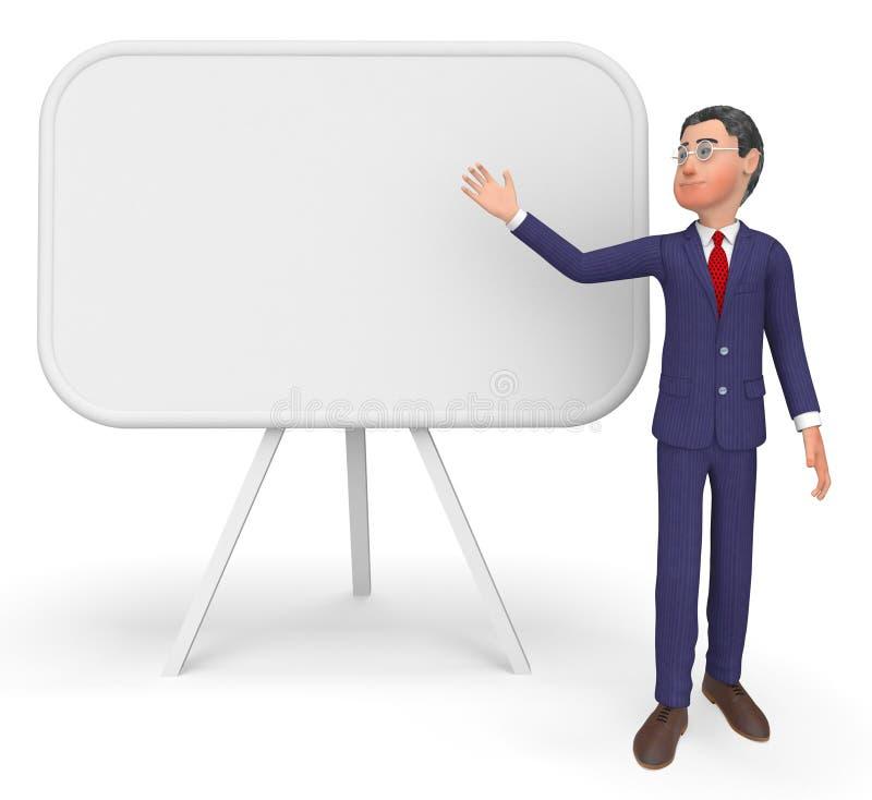 Spazio e bordo di Presenting Means Blank dell'uomo d'affari illustrazione vettoriale