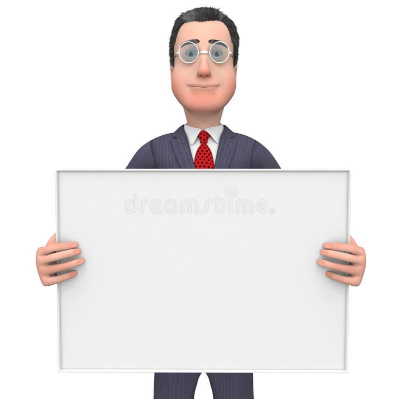 Spazio e spazio in bianco del testo di Holding Signboard Shows dell'uomo d'affari illustrazione di stock