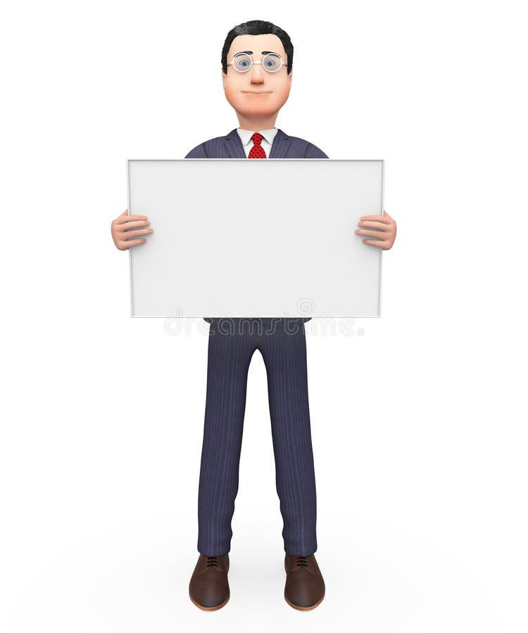 Spazio e spazio in bianco vuoti di Holding Signboard Indicates dell'uomo d'affari illustrazione vettoriale
