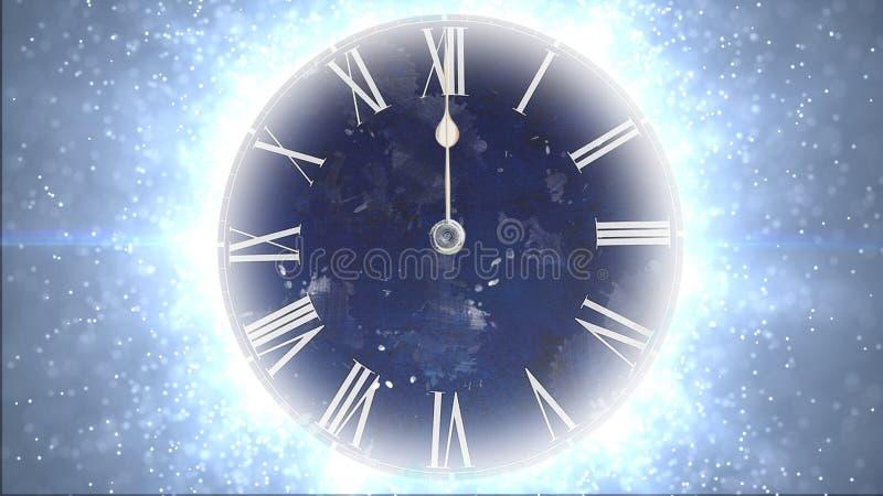 Spazio e tempo Orologio rapido con i lotti delle particelle illustrazione vettoriale