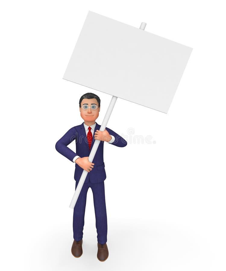 Spazio ed annuncio del testo di With Signboard Means dell'uomo d'affari illustrazione vettoriale