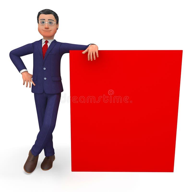 Spazio ed annuncio di Beside Signboard Means dell'uomo d'affari royalty illustrazione gratis