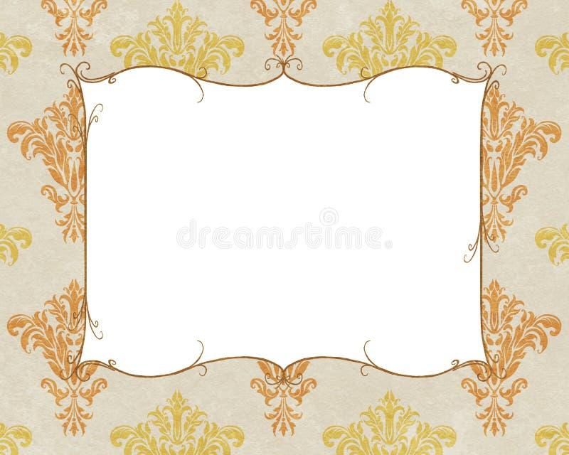 Spazio elegante della copia della struttura su bianco e sul damasco dell'oro illustrazione vettoriale