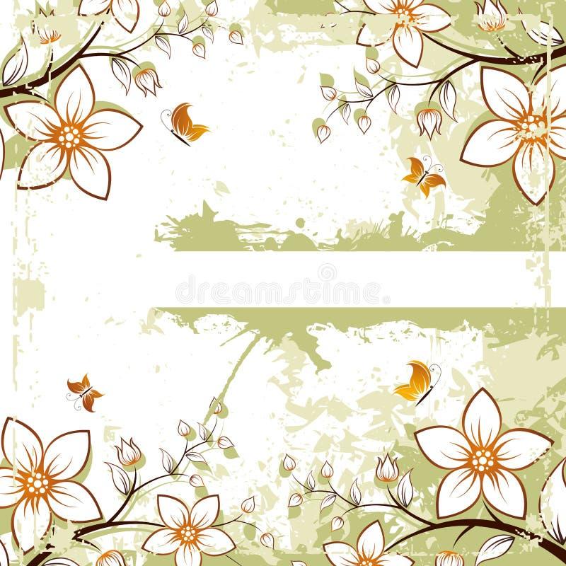 Spazio floreale di Grunge per testo illustrazione vettoriale