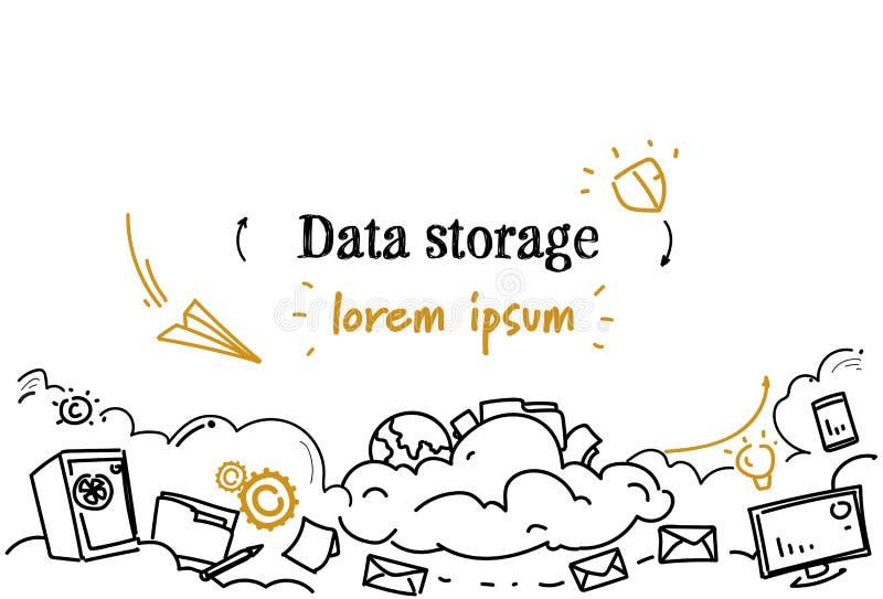 Spazio orizzontale di calcolo della copia di scarabocchio di schizzo di concetto di stoccaggio di dati di gestione della nuvola illustrazione vettoriale