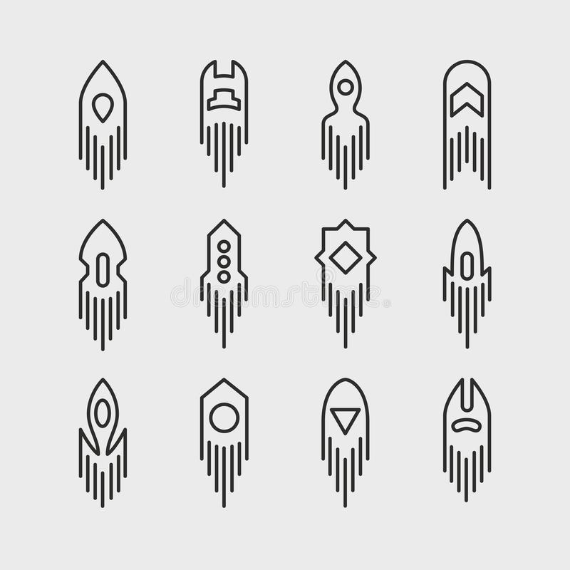 Spazio Rocket Icon Set illustrazione vettoriale
