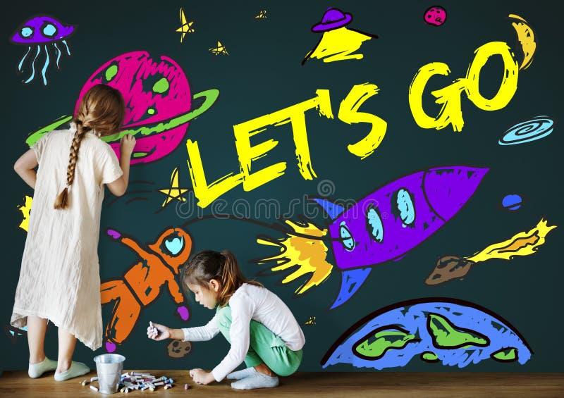 Spazio Rocket Joyful Graphic Concept di immaginazione dei bambini immagini stock libere da diritti