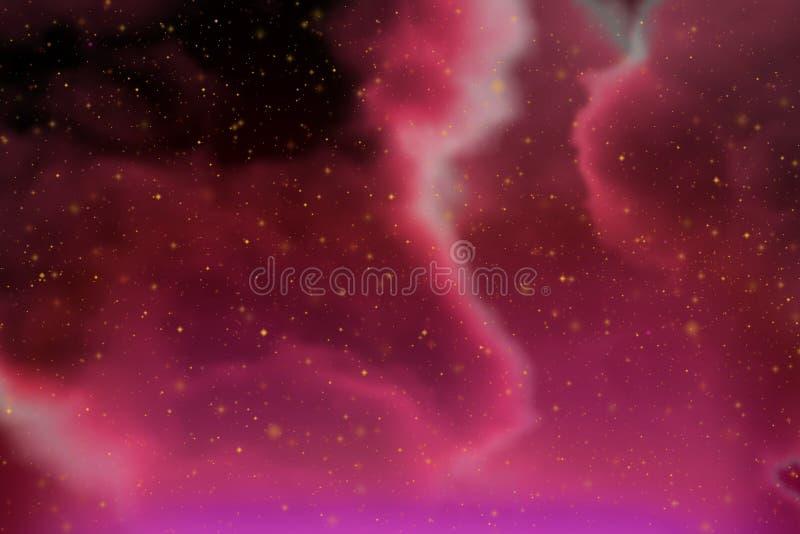 Spazio rosso di fantasia dinamica astratta e fondo variopinto delle stelle con le scintille e le nuvole fotografie stock