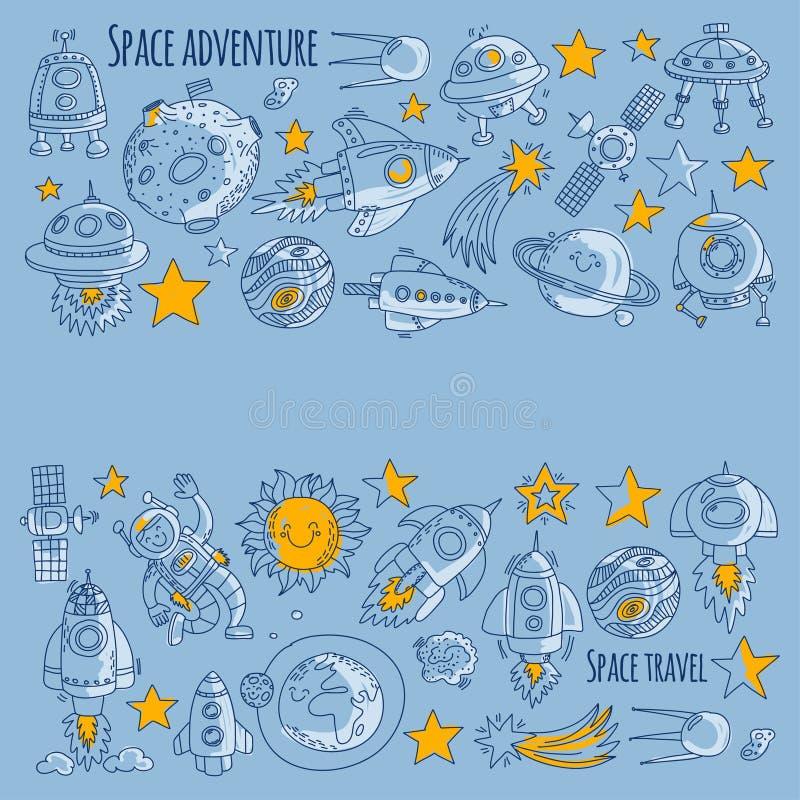 Spazio, satellite, luna, stelle, veicolo spaziale, icone e modelli disegnati a mano di scarabocchio dello spazio della stazione s royalty illustrazione gratis