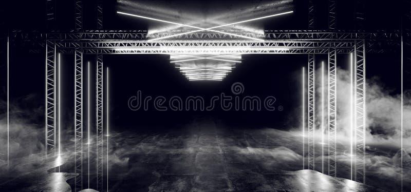 Spazio sotterraneo d'ardore del club di lerciume concreto scuro riflettente vibrante delle luci bianche della costruzione della f illustrazione di stock