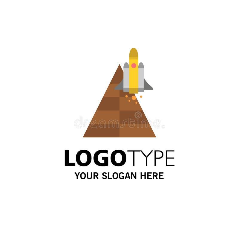 Spazio, stazione, aereo, veicolo spaziale, affare Logo Template del lancio colore piano illustrazione vettoriale