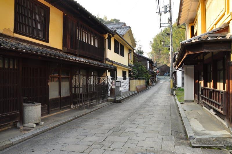 Spazio urbano tradizionale giapponese. Scape della via. fotografia stock
