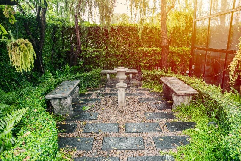 Spazio verde del parco con il banco di pietra immagine stock libera da diritti