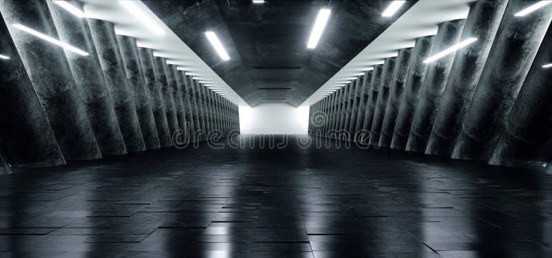 Spazio vuoto materiale riflettente di Sci Fi di lerciume del corridoio lungo vuoto concreto elegante scuro moderno futuristico de illustrazione di stock