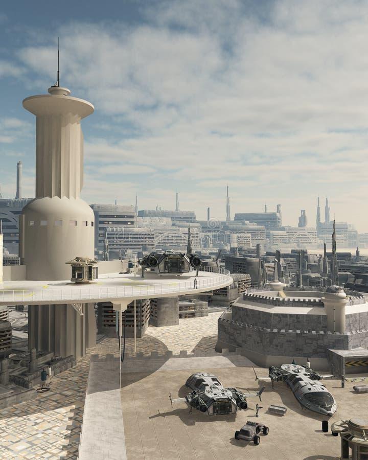Spazioporto futuro della città royalty illustrazione gratis