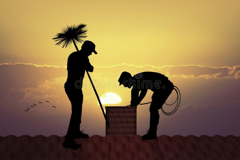 Spazzacamino sul tetto illustrazione vettoriale