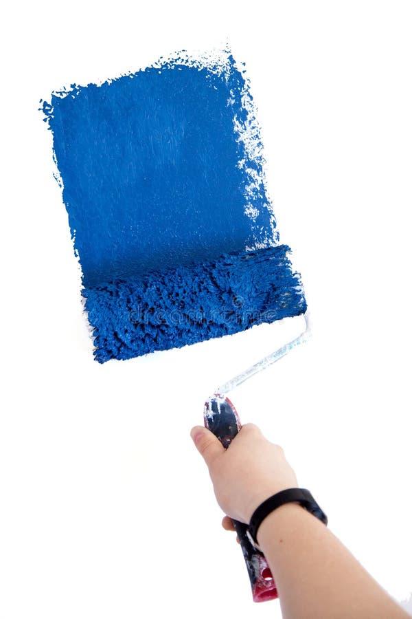 Spazzola blu del rullo del pittore di Diy isoalted fotografia stock libera da diritti