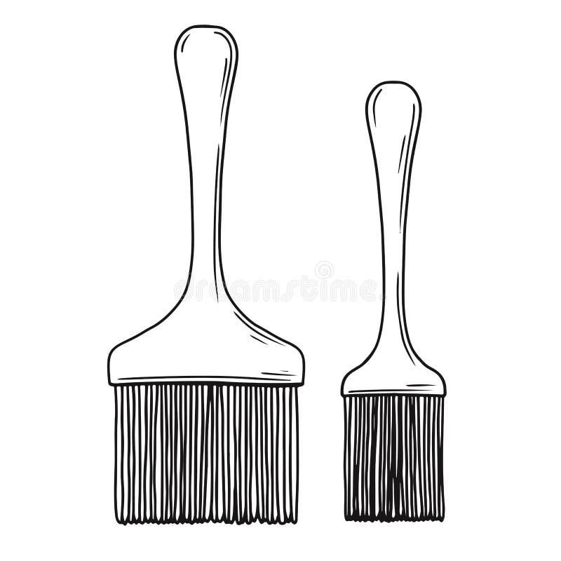 Spazzola bollente del silicone di schizzo isolata su fondo bianco Vettore royalty illustrazione gratis