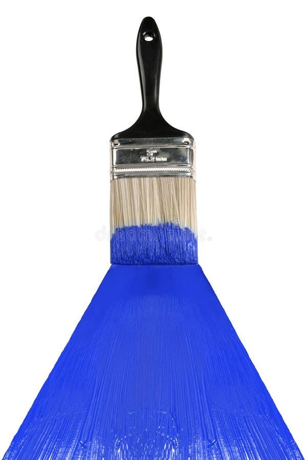 Spazzola con vernice blu fotografia stock libera da diritti
