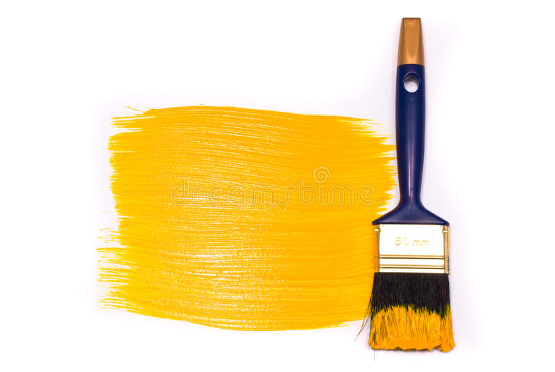 Spazzola con vernice gialla immagine stock libera da diritti