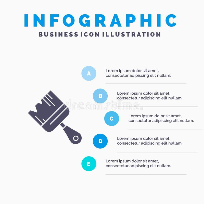 Spazzola, costruzione, costruzione, fondo solido di presentazione di punti di Infographics 5 dell'icona della pittura illustrazione vettoriale
