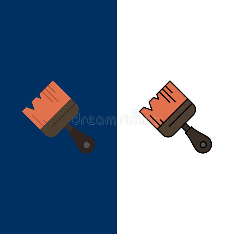 Spazzola, costruzione, costruzione, icone della pittura Il piano e la linea icona riempita hanno messo il fondo blu di vettore royalty illustrazione gratis
