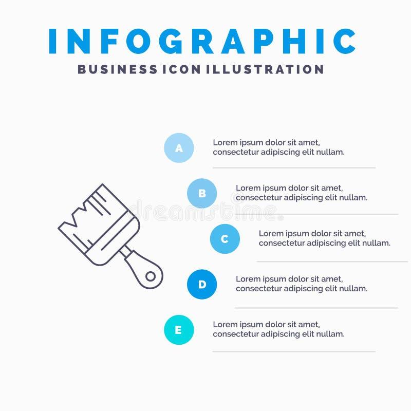 Spazzola, costruzione, costruzione, linea di pittura icona con il fondo di infographics di presentazione di 5 punti illustrazione vettoriale