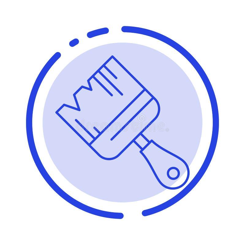 Spazzola, costruzione, costruzione, linea punteggiata blu linea icona della pittura royalty illustrazione gratis