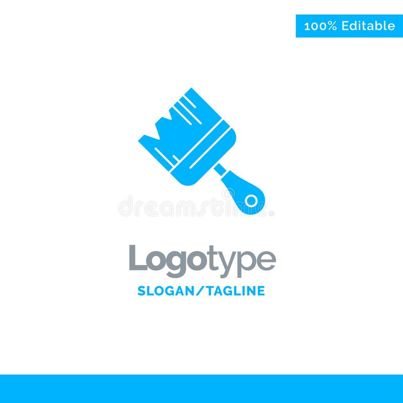 Spazzola, costruzione, costruzione, pittura Logo Template solido blu Posto per il Tagline royalty illustrazione gratis