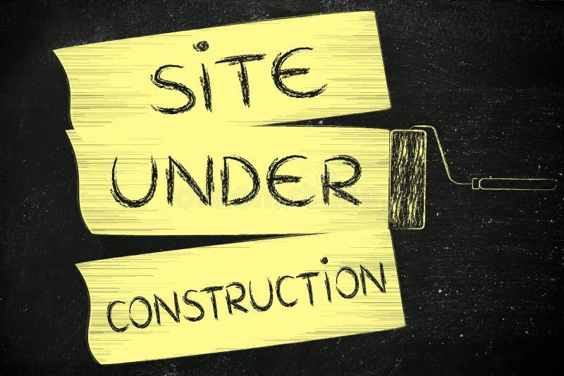 Spazzola del rullo che aggiunge pittura, con il sito del testo in costruzione illustrazione di stock