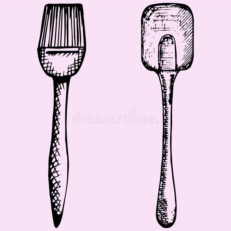 Spazzola del silicone per cuocere e la cottura e la spatola illustrazione di stock