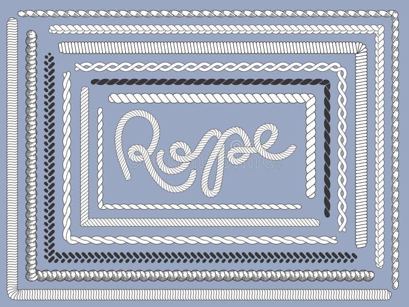 Spazzola della corda Corde marine, struttura intrecciata dell'intrecciatura della corda che tricotta l'insieme di vettore isolato royalty illustrazione gratis
