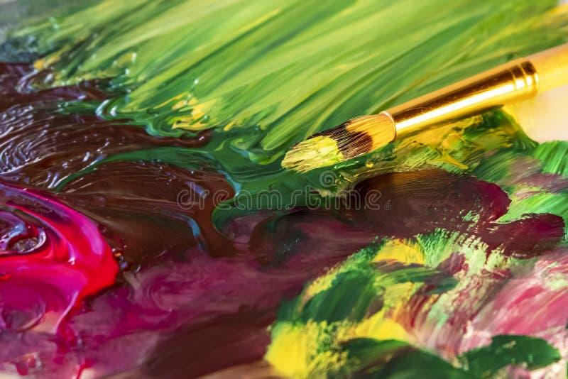 Spazzola di arte e colpi della spazzola di pittura acrilica sottragga la priorità bassa immagini stock