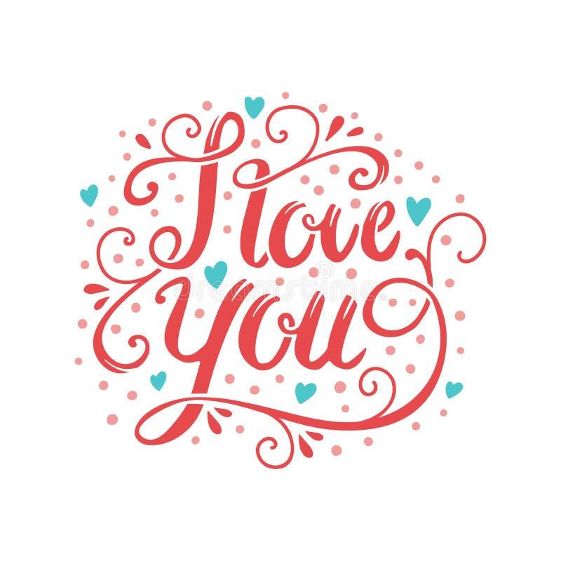 Spazzola disegnata a mano di vettore che segna cartolina con lettere romantica Ti amo esprime l'illustrazione royalty illustrazione gratis