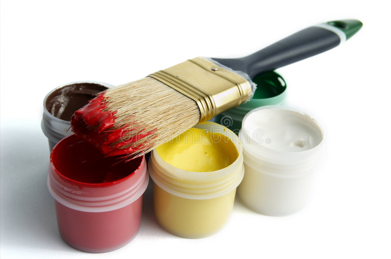 Spazzola e vernice immagine stock