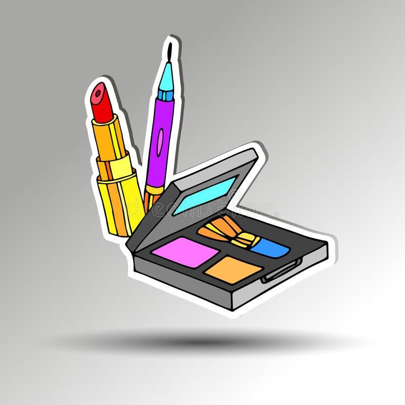 Spazzola femminile di fascino di progettazione di trucco di modo di vettore illustrazione vettoriale
