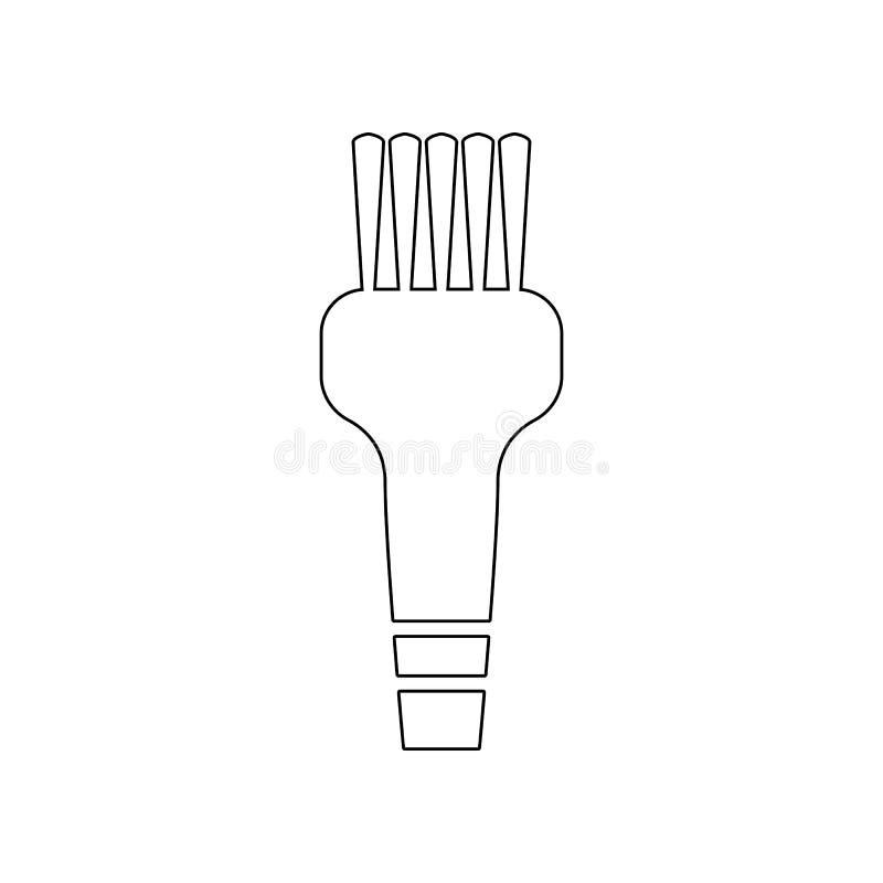 spazzola per l'icona di pulizia dei capelli Elemento del barbiere per il concetto e l'icona mobili dei apps di web Profilo, linea illustrazione di stock