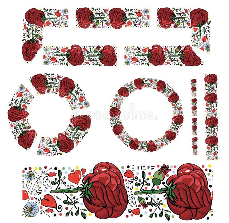 Spazzola senza cuciture con le grandi rose rosse dipinte e il deta fine di vettore royalty illustrazione gratis