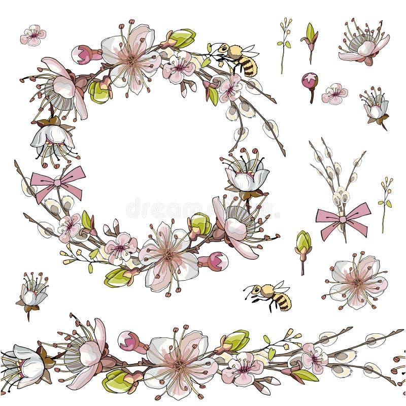 Spazzola senza cuciture, corona dei fiori dell'albicocca nel vettore su fondo bianco illustrazione vettoriale
