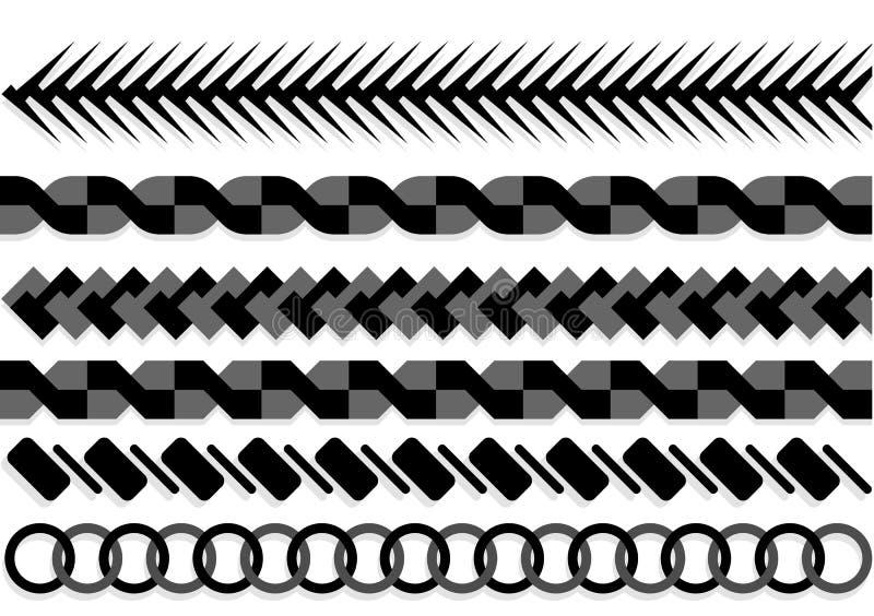 Spazzole del modello delle corde Corda nautica senza cuciture e bande a catena isolate su fondo illustrazione di stock