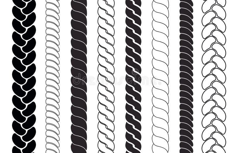Spazzole del modello delle corde Le trecce e le intrecciature profilano la raccolta illustrazione vettoriale