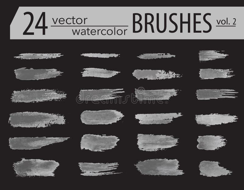 spazzole Insieme della pittura del toner Colpi artistici strutturati lerciume, progettazione di vettore Spazzole disegnate a mano illustrazione vettoriale